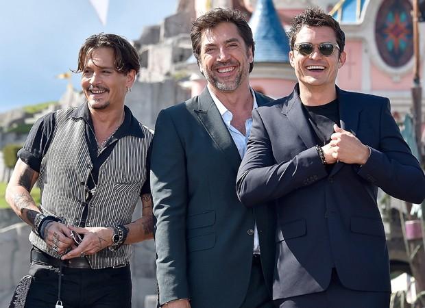 Johnny Depp, Javier Bardem e Orlando Bloom (Foto: Divulgação)