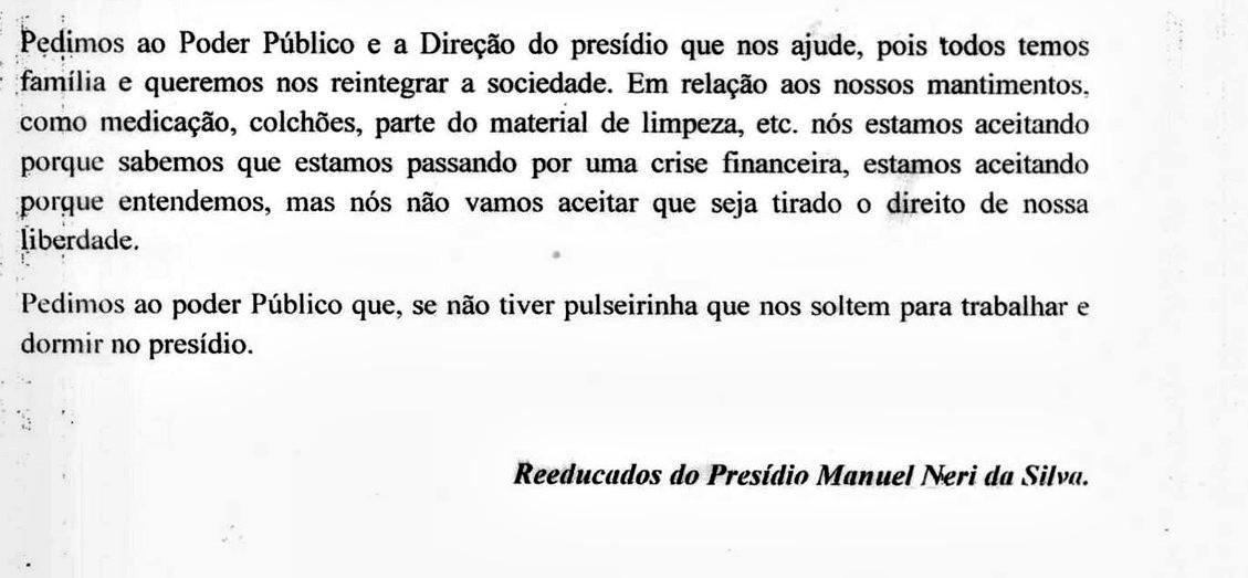 Carta foi enviada à uma rádio local e assinada por detentos do presídio Manoel Néri  (Foto: Arquivo pessoal)
