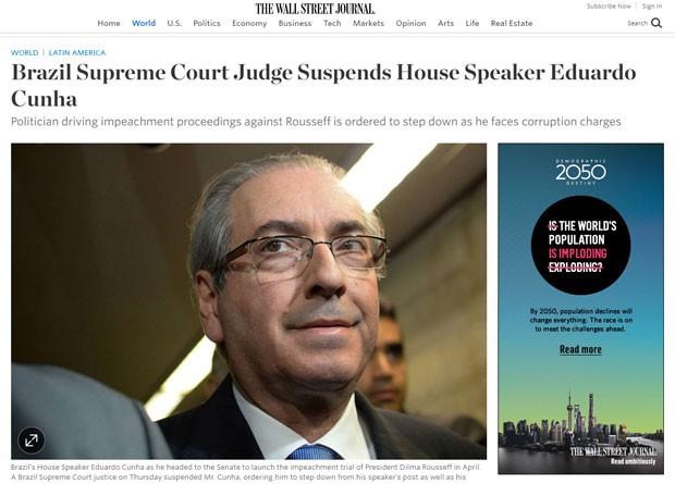 'The Wall Street Journal' publicou matéria sobre o afastamento de Cunha (Foto: Reprodução/The Wall Street Journal)