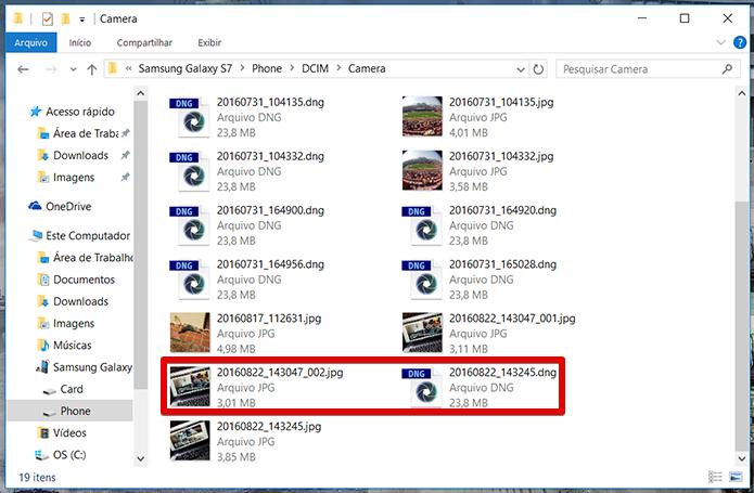 Fotos serão salvas aos pares: um arquivo JPG comum e um arquivo DNG, que é a imagem em RAW, apenas na memória interna do celular. Observe os tamanhos dos arquivos: 3 MB para o JPG e 23 MB para o DNG da mesma foto (Foto: Reprodução/Filipe Garrett)