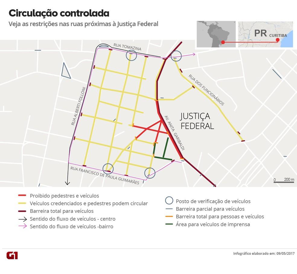 Mapa com os bloqueios no trânsito de Curitiba no dia do depoimento de Lula a Moro (Foto: Arte/G1)