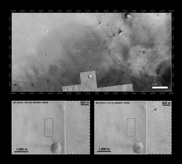 Acima, o local da colisão em perspectiva. Abaixo, o antes e o depois do impacto na superfície marciana (Foto: NASA)