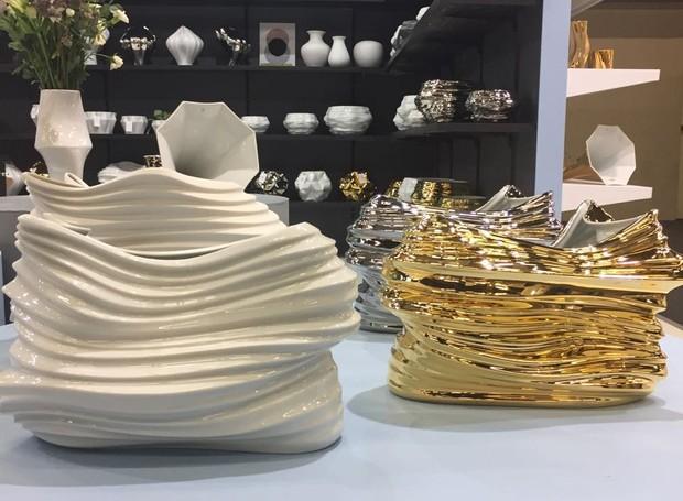 Vasos de porcelana, da linha Voo, da Holaria (Foto: Casa e Jardim)