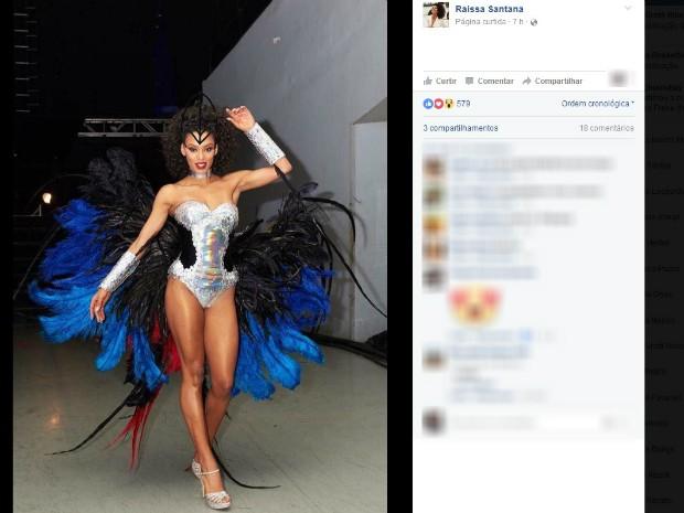 A Miss Brasil 2016 veste o traje típico nas preliminares do concurso (Foto: Reprodução/Facebook)