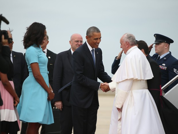 Obama recebe Papa Francisco nos EUA (Foto: AP Photo/Andrew Harnik)