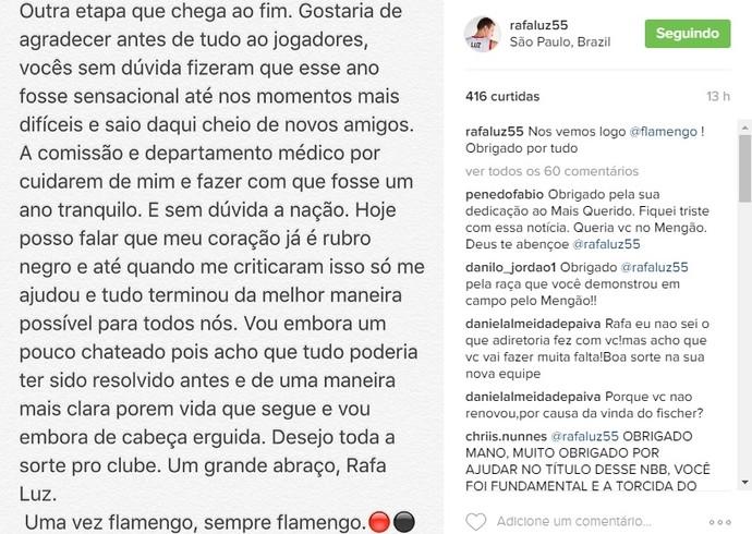 Rafa Luz Basquete Flamengo (Foto: Reprodução/Instagram)