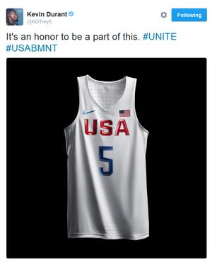 Kevin Durant demonstra orgulho por defender a seleção nos Jogos do Rio (Foto: Reprodução/Twitter)