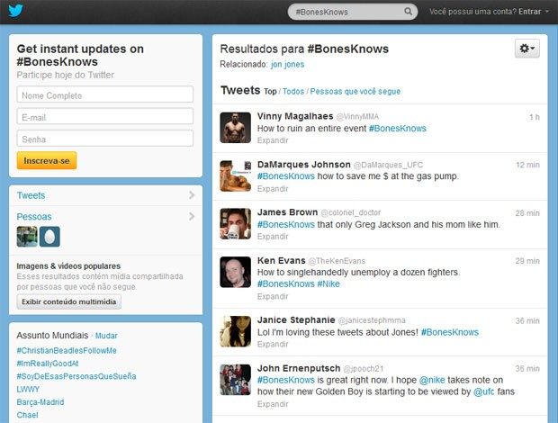 Twitter #BonesKnows Jon Jones (Foto: Reprodução / Twitter)