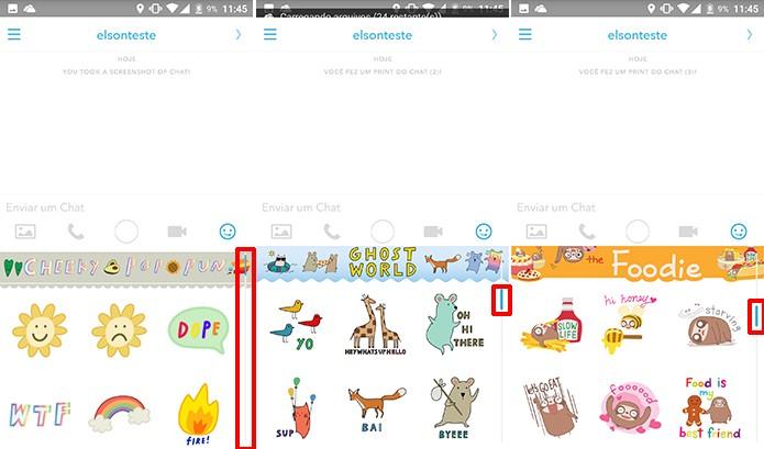 Snapchat pode ter coleções de adesivos trocadas rapidamente na barra de rolagem (Foto: Reprodução/Elson de Souza)