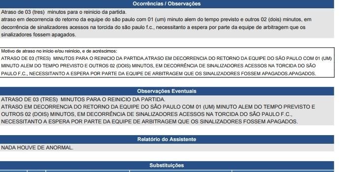 Árbitro Marcelo de Lima Henrique relata atraso no reinício do jogo por sinalizadores na torcida do São Paulo (Foto: Reprodução)