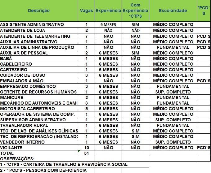 Sine oferece 51 vagas nesta quarta-feira (4) (Foto: Divulgação/Sine)