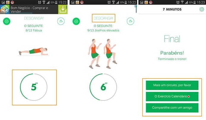 O app oferece exercícios em etapas com atividades diferentes (Foto: Reprodução/Barbara Mannara)
