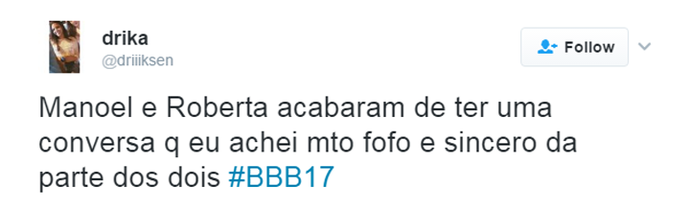 Tuíte BBB Roberta e Manoel (Foto: Reprodução Internet)
