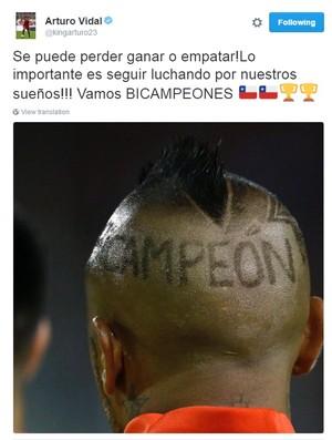 """BLOG: Vidal enaltece bi da Copa América com novo visual: """"Importante seguir lutando"""""""