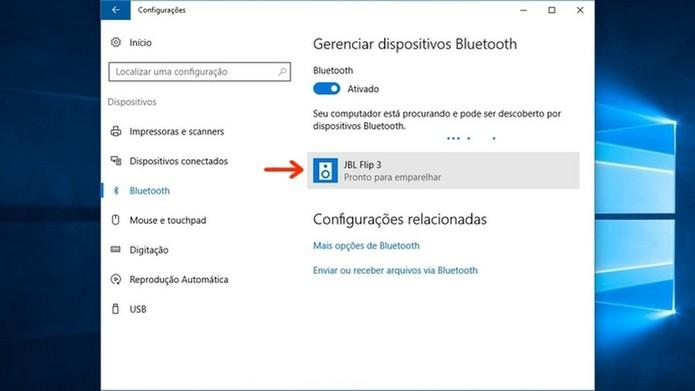 Caixa de som Bluetooth localizada pelo Windows 10  (Foto: Reprodução/Raquel Freire)