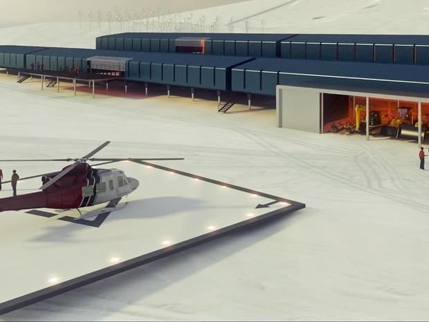 Um heliporto funcionará em frente à estação científica, que ainda será equipada com uma garagem para maquinário próprio para neve (Foto: Divulgação/Estúdio 41)