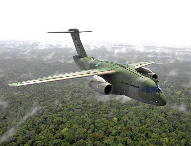 Imagem gerada digitalmente simula o KC-390, da Embraer, sobrevoando área de floresta (Foto: Reuters/Embraer)