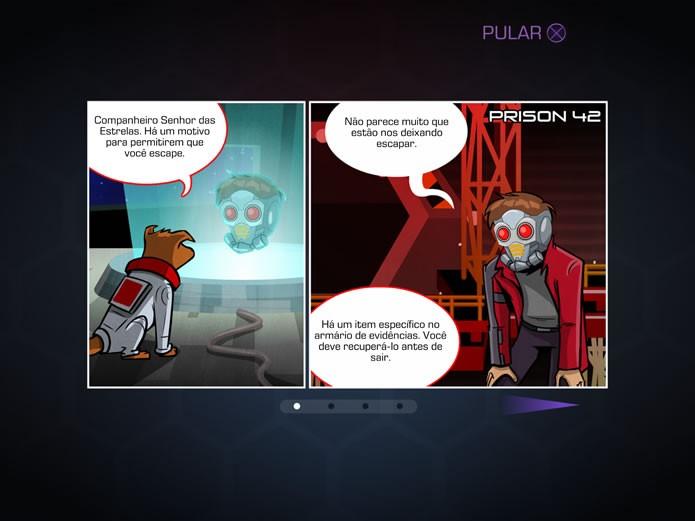 No game, os Guardiões da Galáxia terão suas missões orientas pelo cão telepata Cosmos (Foto: Reprodução/Daniel Ribeiro)