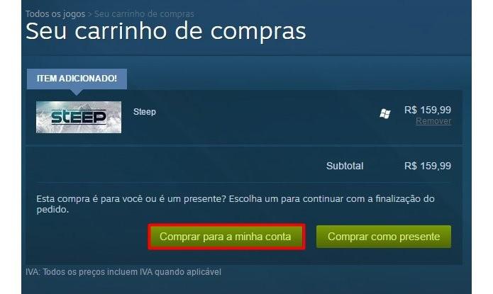 Steep também pode ser enviado como presente aos amigos pelo Steam (Foto: Reprodução/Felipe Demartini)