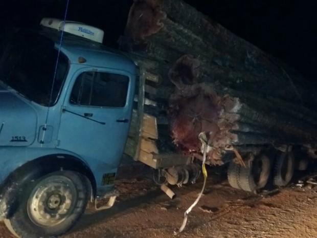 Caminhão carregado de toras colidiu com ônibus escolar (Foto: Jackeline Santos/ Polícia Civil de Novo Mundo-MT)