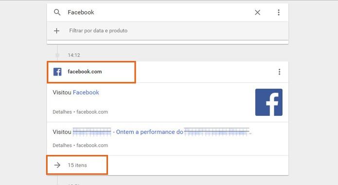 Veja a lista com os dados do Facebook salvos no Google (Foto: Reprodução/Barbara Mannara)