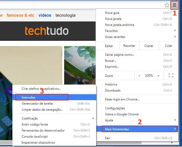 Acessando as extensões do Chrome (Foto: Reprodução/Edivaldo Brito)