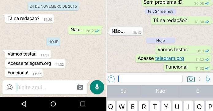 WhatsApp bloqueia link do Telegram no Android, à esquerda (Foto: TechTudo)