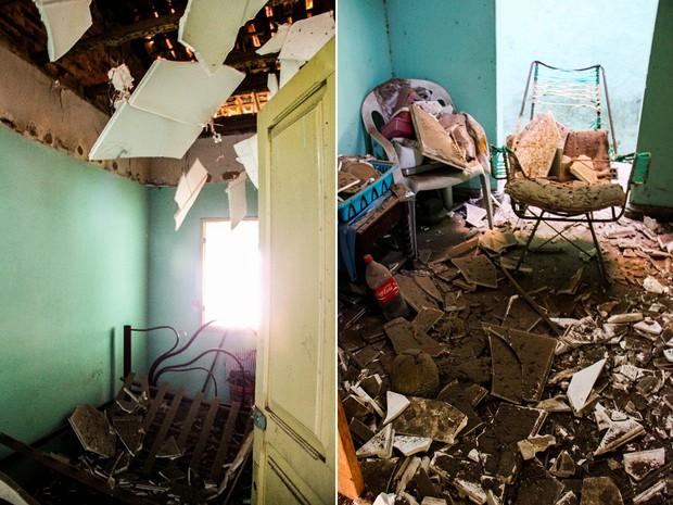 Casa em que o forro desabou estava vazia na hora da explosão. (Foto: Jonathan Lins/G1)