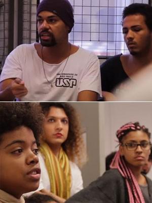 Membros do movimento Ocupação Preta interromperar aula de Fernando Haddad para discutir políticas de cotas na USP (Foto: Reprodução/Youtube/Ocupação Preta)