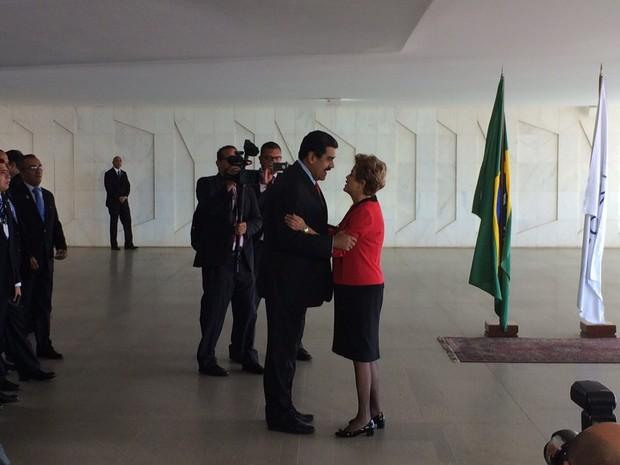 Dilma recebe o presidente venezuelano, Nicolás Maduro, no Palácio do Itamaraty (Foto: Filipe Matoso/G1)