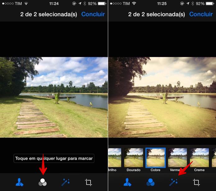 Toque sobre o botão para adicionar um filtro à foto (Foto: Reprodução/Helito Bijora)