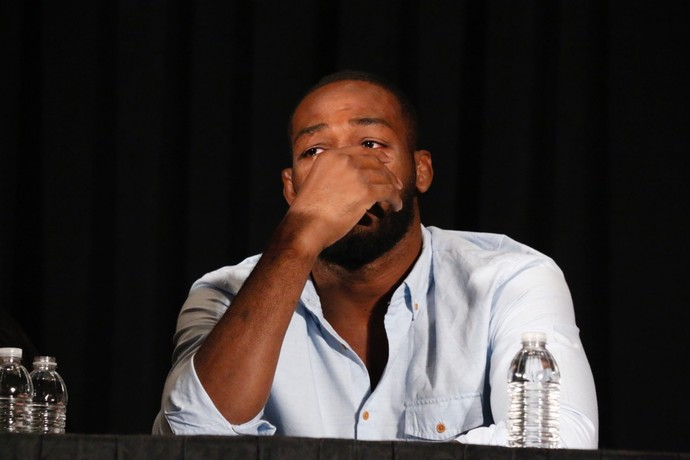 Jon Jones coletiva de imprensa UFC Las Vegas MMA (Foto: Evelyn Rodrigues)