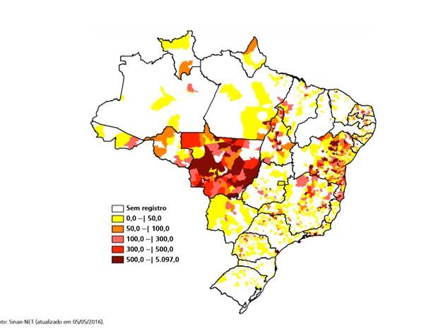 Mapa mostra as regiões do país com maior concentração de casos do vírus da zika (Foto: Ministério da Saúde/Reprodução)