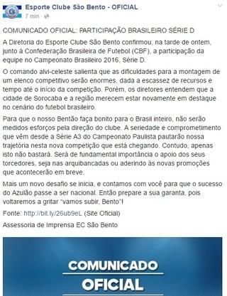 Comunicado do São Bento confirmando participação na Série D do Brasileiro (Foto: Reprodução/ Facebook)