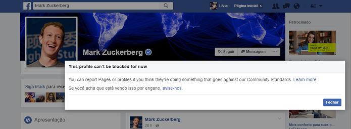 O Facebook não permite que você bloqueie Mark Zuckerberg (Foto: Reprodução/Lívia Dâmaso)