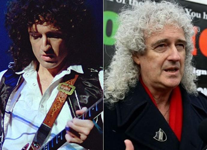 Brian May é fiel ao seu estilo e continua ostentando seus cachos, mas agora grisalhos (Foto: Divulgação)