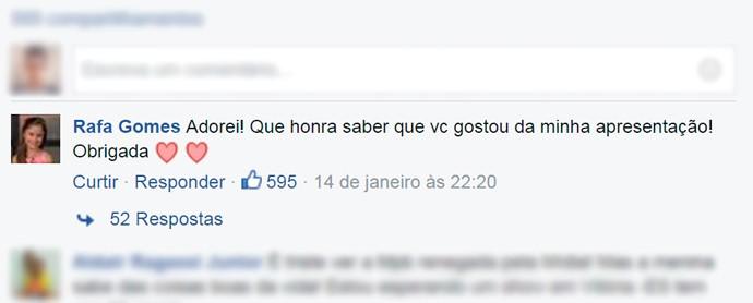 Reação da Rafa Gomes com a publicação do Chico Burque (Foto: Rede Social)