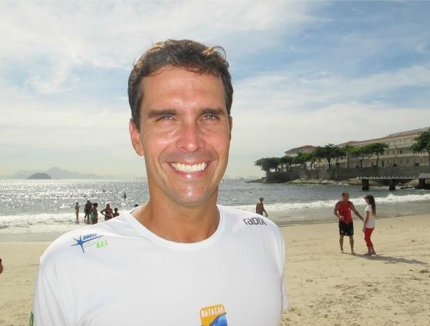 Luiz Lima pentacampeão natação mar aberto Travessia dos Fortes Copacabana Rio de Janeiro (Foto: Ana Carolina Fontes / Globoesporte.com)