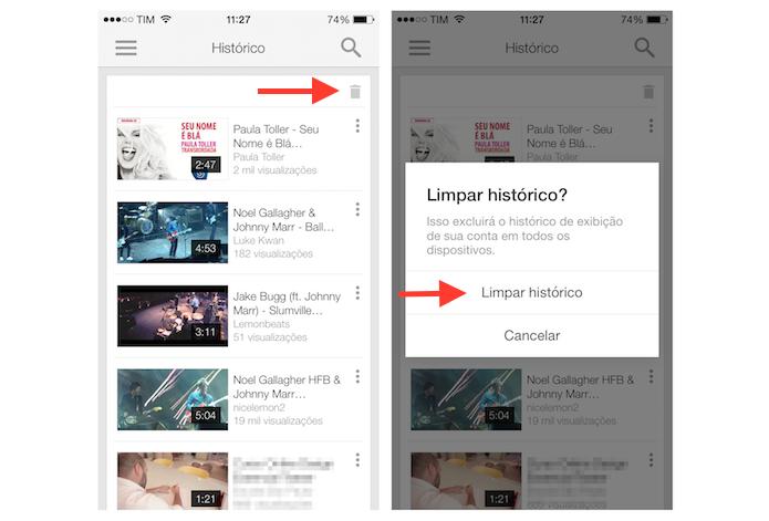 Apagando o histórico de vídeos assistidos no YouTube pelo iPhone (Foto: Reprodução/Marvin Costa)