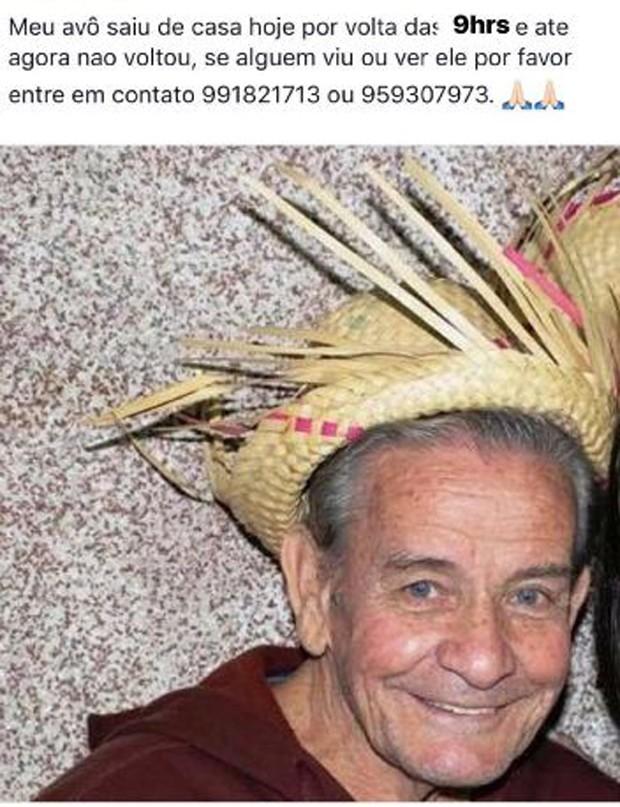 Nilton, avô desaparecido do ator Thomaz Costa (Foto: Reprodução/Instagram)
