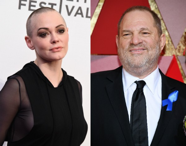 A atriz Rose McGowan e o criminoso Harvey Weinstein (Foto: Getty Images)
