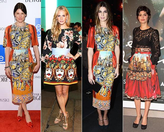Tabitha Simmons, Poppy Delevingne, Bianca Brandolini e Audrey Tatou- Desfile Dolce e Gabbana (Foto: Agência Getty Images)