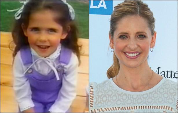 Sim, 'Buffy: A Caça-Vampiros' (1997-2003), mais conhecida como Sarah Michelle Gellar, já fez comercial para uma rede de lanchonetes de fast-food quando era criança. Hoje ela tem 37 anos. (Foto: Reprodução e Getty Images)