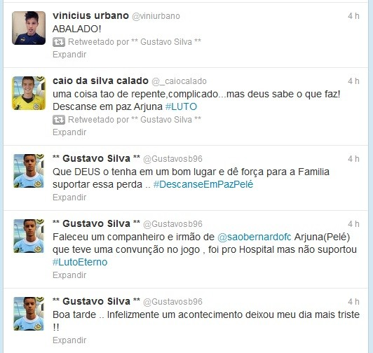 Jogadores do São Bernardo lamentam morte de companheiro (Foto: Reprodução da Internet)