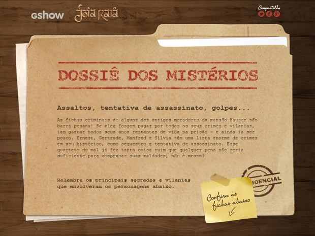 Confira o dossiê dos mistérios dos vilões de Joia Rara (Foto: Joia Rara/TV Globo)