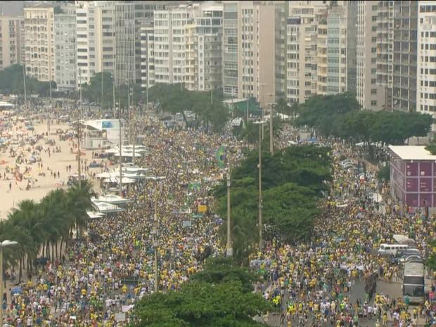 Manifestação anti-governo tomou as duas pistas da Avenida Atlântica (Foto: Reprodução/TV Globo)