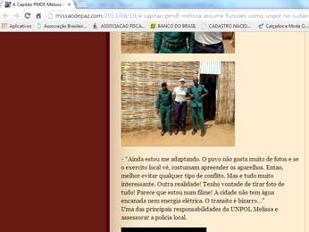 Blog na internet publicou fotos da capitã com militares do exército local em Juba (Foto: Reprodução)