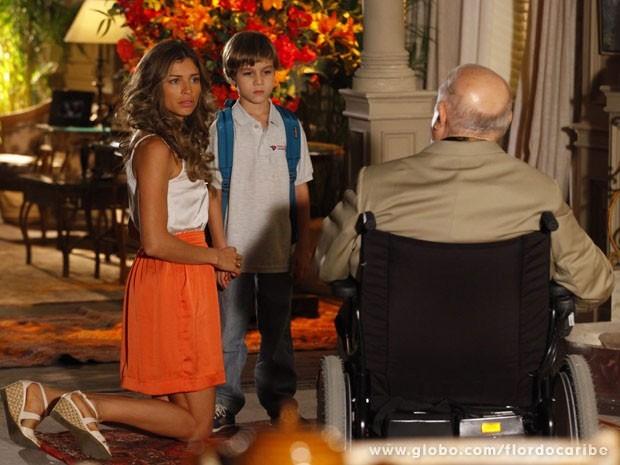 Díonísio diz para o neto que Cassiano o abandonou (Foto: Flor do Caribe/TV Globo)