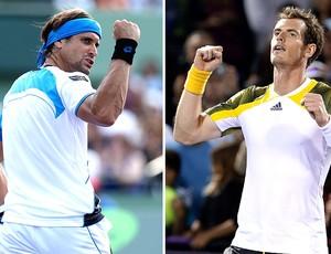 montagem David Ferrer Andy Murray tênis final (Foto: Editoria de Arte / Globoesporte.com)