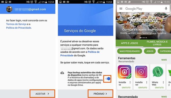 Concorde com os termos e acessa a Google Play Store no celular (Foto: Reprodução/Barbara Mannara)